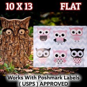 25 10X13 Owl Chevron Poly Mailers Pets Bird Toys